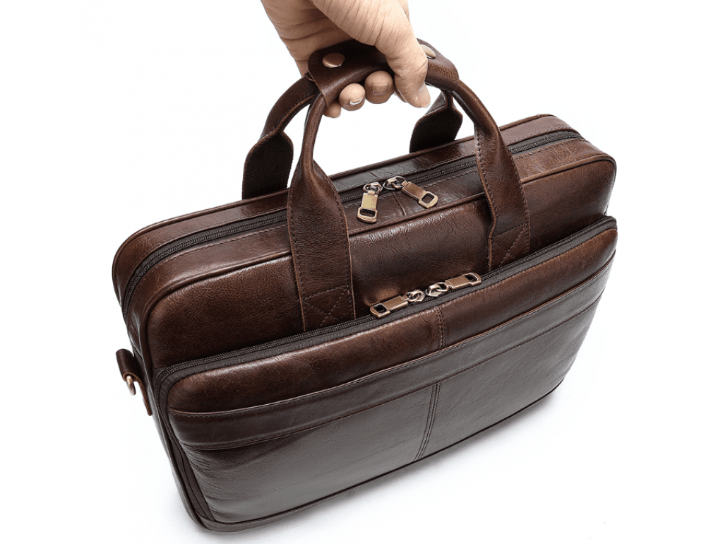 Тёмно-коричневый кожаный портфель Tiding Bag 8841C - Фото № 4