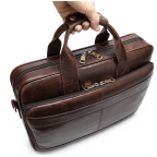 Тёмно-коричневый кожаный портфель Tiding Bag 8841C - Фото № 103