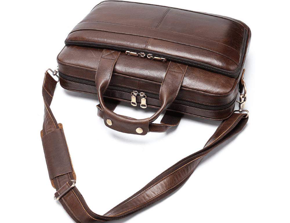 Тёмно-коричневый кожаный портфель Tiding Bag 8841C - Фото № 5