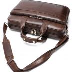 Тёмно-коричневый кожаный портфель Tiding Bag 8841C - Фото № 104