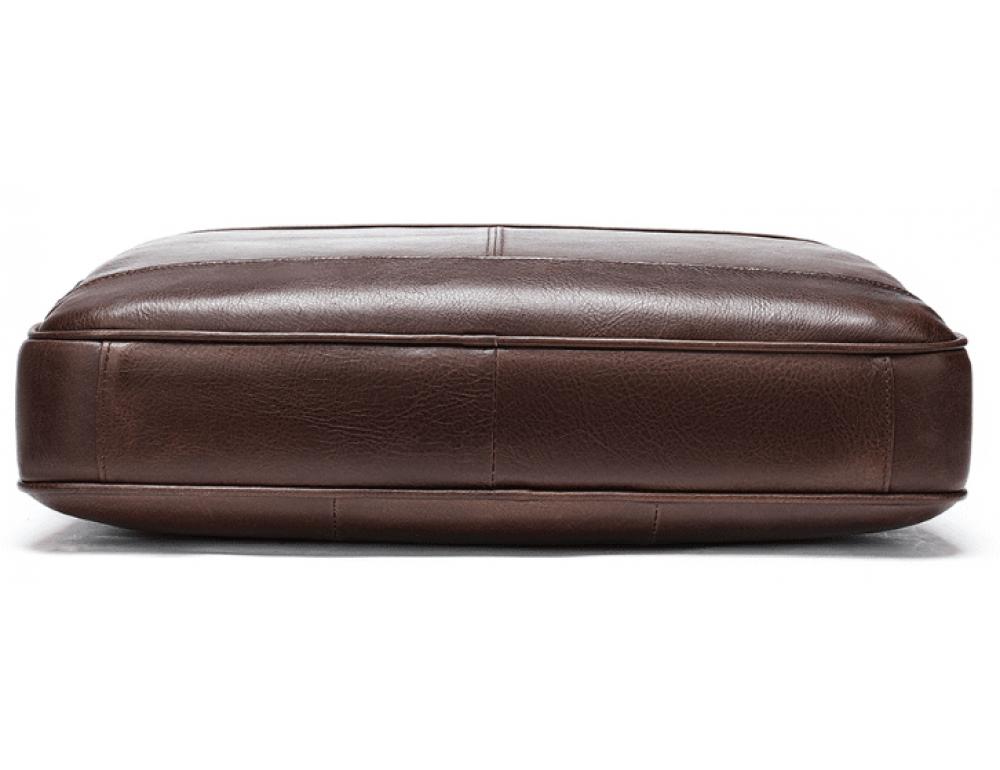 Тёмно-коричневый кожаный портфель Tiding Bag 8841C - Фото № 6