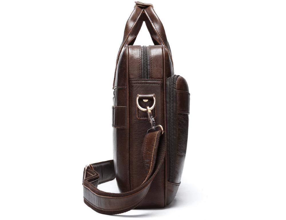 Тёмно-коричневый кожаный портфель Tiding Bag 8841C - Фото № 7