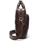 Тёмно-коричневый кожаный портфель Tiding Bag 8841C - Фото № 106