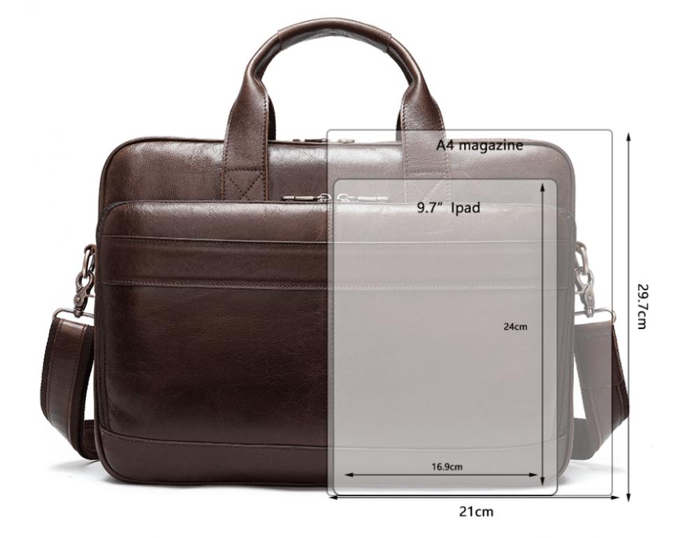 Тёмно-коричневый кожаный портфель Tiding Bag 8841C - Фото № 8