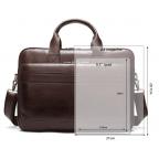 Тёмно-коричневый кожаный портфель Tiding Bag 8841C - Фото № 107