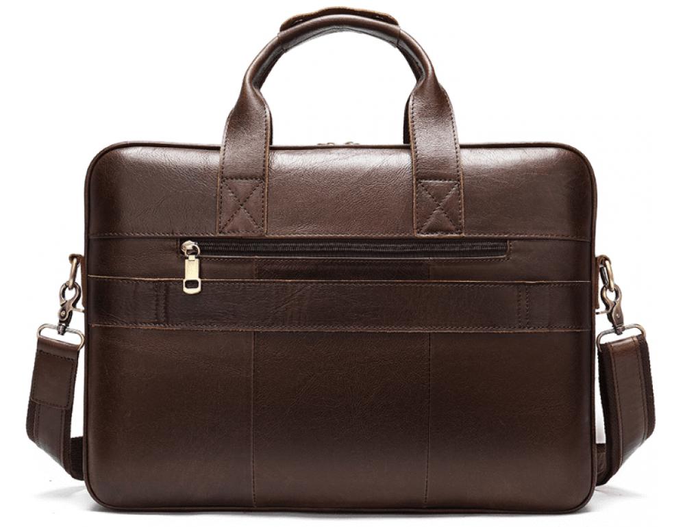 Тёмно-коричневый кожаный портфель Tiding Bag 8841C - Фото № 9