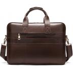 Тёмно-коричневый кожаный портфель Tiding Bag 8841C - Фото № 108