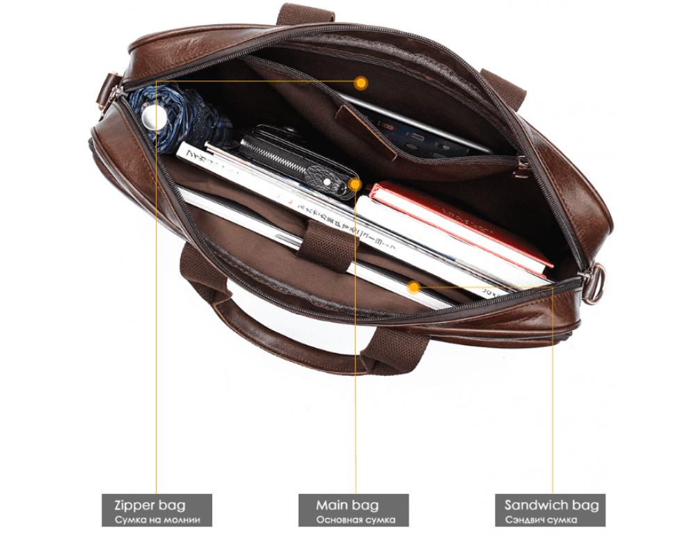 Тёмно-коричневый кожаный портфель Tiding Bag 8841C - Фото № 10