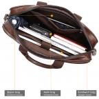 Тёмно-коричневый кожаный портфель Tiding Bag 8841C - Фото № 109