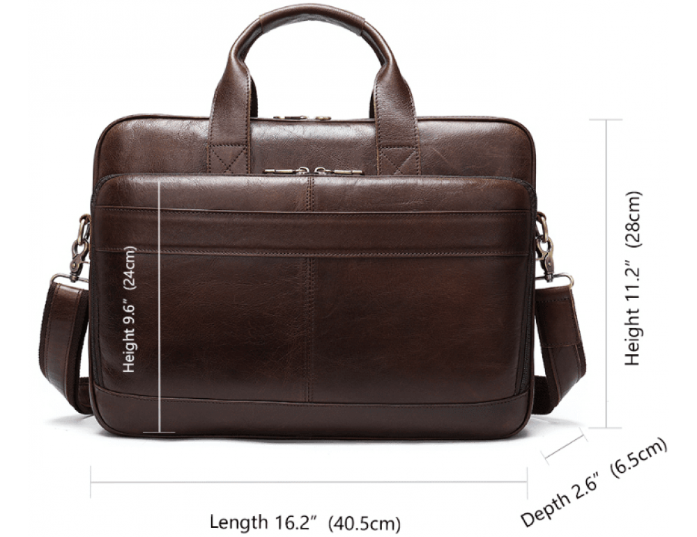 Тёмно-коричневый кожаный портфель Tiding Bag 8841C - Фото № 11