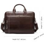 Тёмно-коричневый кожаный портфель Tiding Bag 8841C - Фото № 110