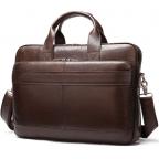 Тёмно-коричневый кожаный портфель Tiding Bag 8841C - Фото № 100