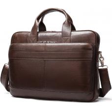 Тёмно-коричневый кожаный портфель Tiding Bag 8841C
