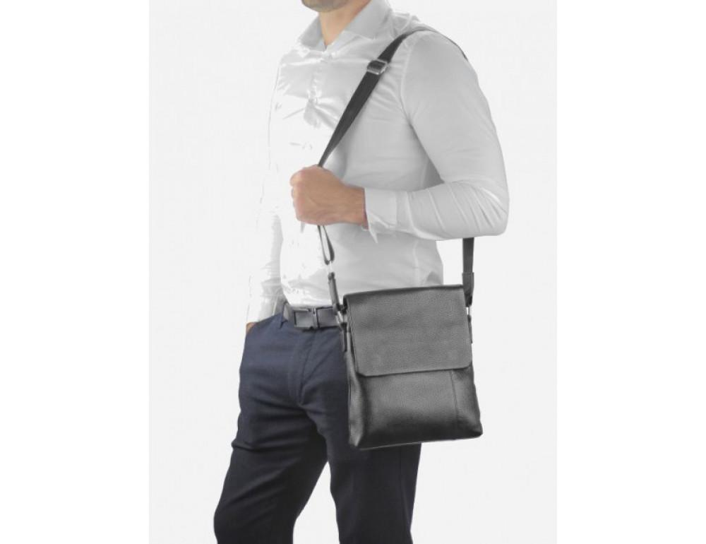 Чёрная кожаная сумка через плечо Tiding Bag A25F-8878A - Фото № 6