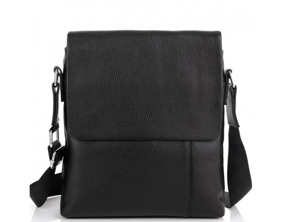 Чёрная кожаная сумка через плечо Tiding Bag A25F-8878A - Фото № 2