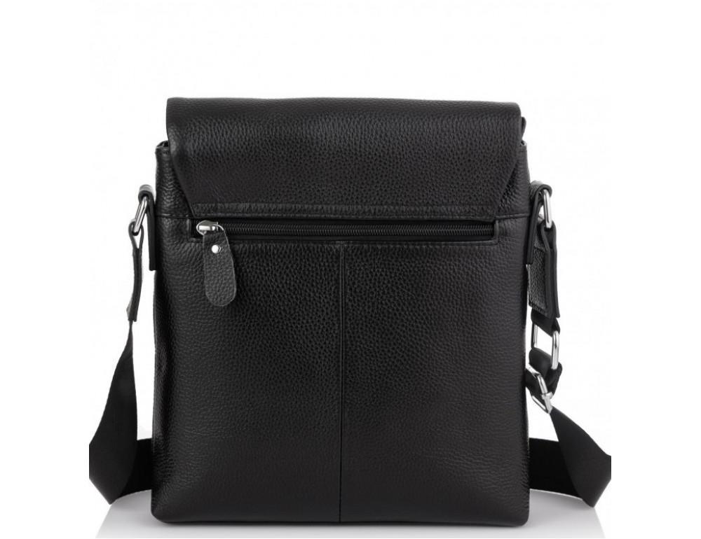 Чёрная кожаная сумка через плечо Tiding Bag A25F-8878A - Фото № 3
