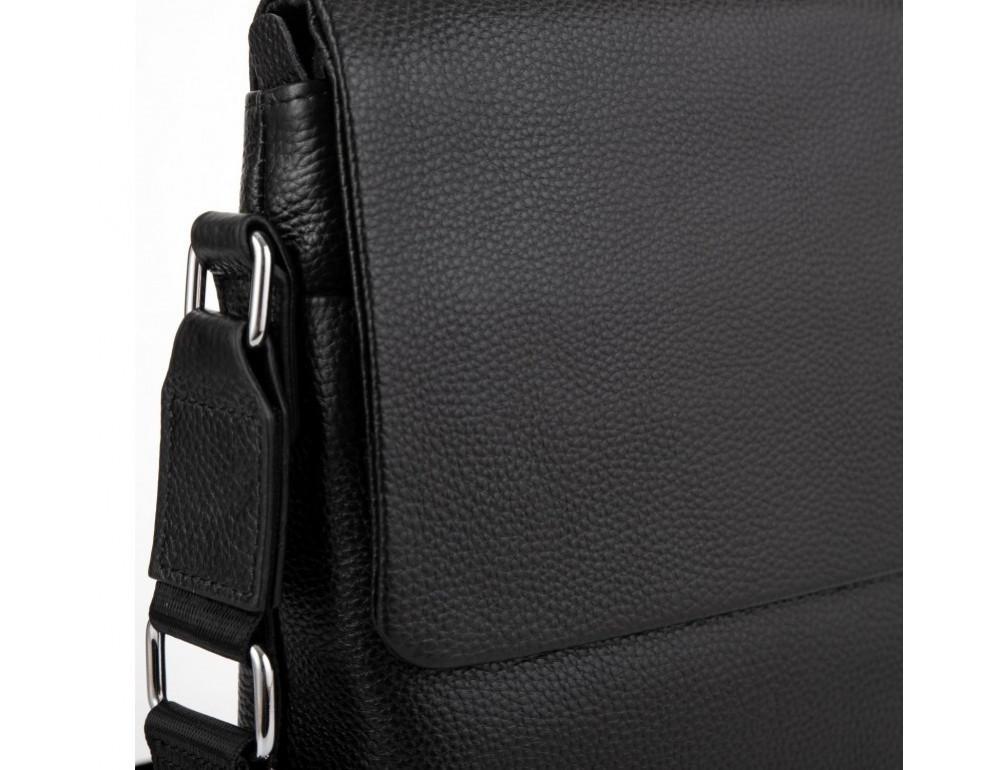 Чёрная кожаная сумка через плечо Tiding Bag A25F-8878A - Фото № 5