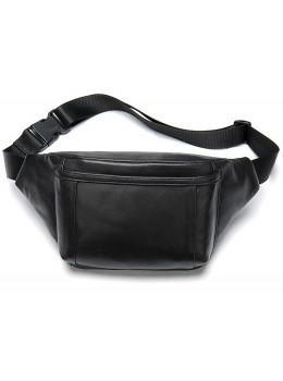 Чёрная кожаная сумка на пояс TIDING BAG 8910A