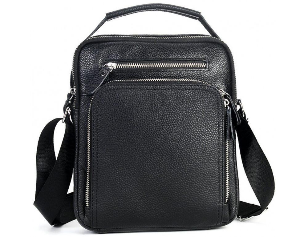 Чёрная кожаная сумка-мессенджер на одно отделение TIDING BAG 90118A