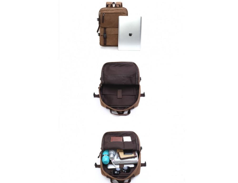 Мужской рюкзак Tiding Bag 9018C коричневый - Фото № 7
