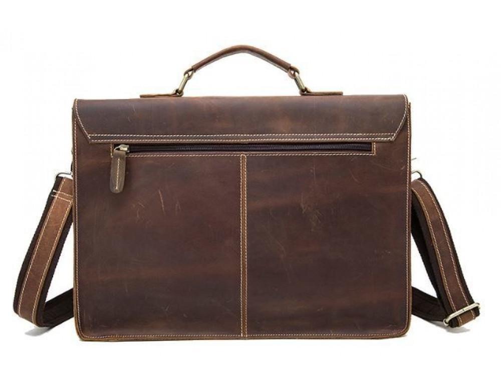 Коричневый кожаный портфель Tiding Bag 9033C - Фото № 2