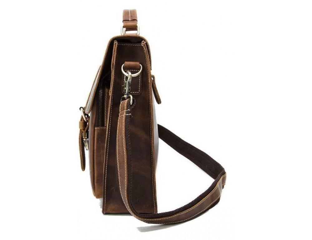 Коричневый кожаный портфель Tiding Bag 9033C - Фото № 3