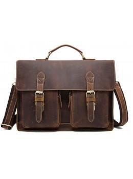 Коричневий шкіряний портфель Tiding Bag 9033C