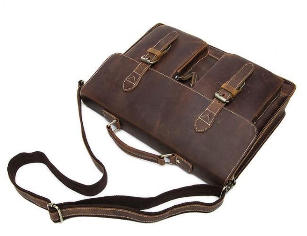 Коричневый кожаный портфель Tiding Bag 9033C - Фото № 4