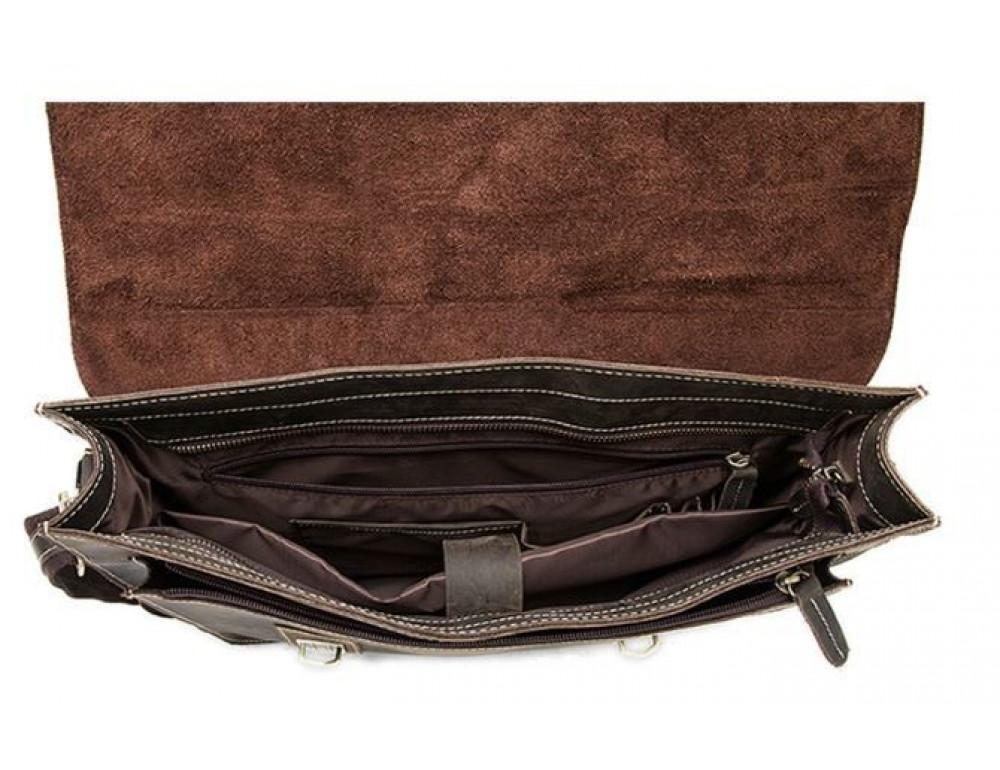 Коричневый кожаный портфель Tiding Bag 9033C - Фото № 5