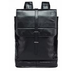 Чорний міської рюкзак з гладкої шкіри Tiding Bag 9116A