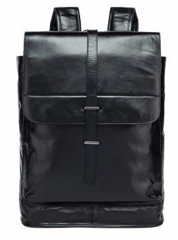 Чёрный городской рюкзак из гладкой кожи Tiding Bag 9116A