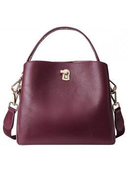 Бордовая кожаная сумочка через плечо HAUT TON 919410988R