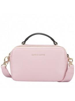 Нежно-розовая кожаная сумка через плечо Smith & Canova 92658 PINK