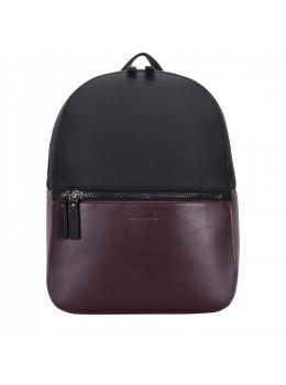 Чорний з бордовим шкіряний рюкзак Smith & Canova 92901 BLK-BRG