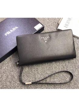 Чёрный кожаный клатч Prada 9360-05