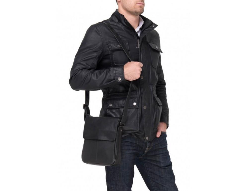 Чёрная кожаная сумка-мессенджер TIDING BAG 9805A - Фото № 2
