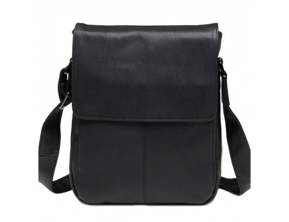 Чёрная кожаная сумка-мессенджер TIDING BAG 9805A - Фото № 1