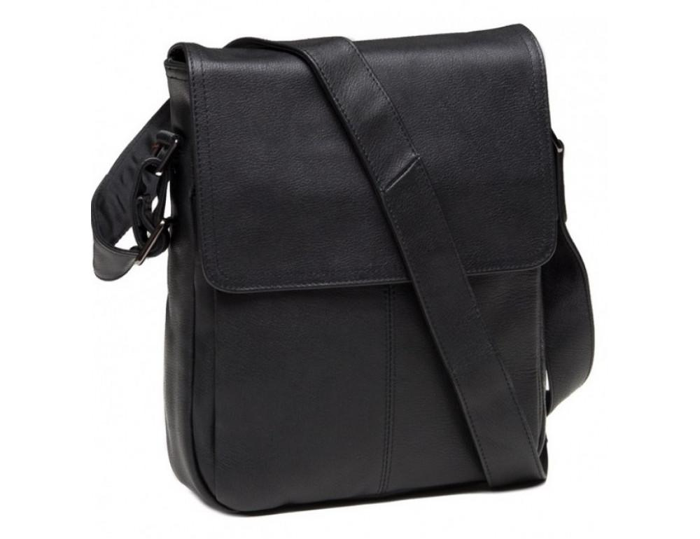 Чёрная кожаная сумка-мессенджер TIDING BAG 9805A - Фото № 3
