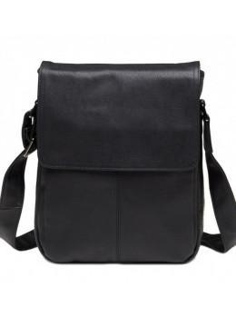 Чёрная кожаная сумка-мессенджер TIDING BAG 9805A