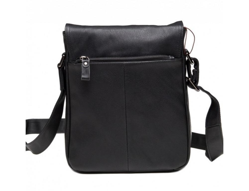 Чёрная кожаная сумка-мессенджер TIDING BAG 9805A - Фото № 4