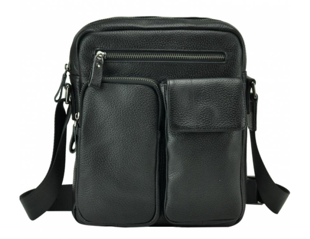 Черная кожаная мужская сумка-мессенджер Tiding Bag 9812-1A - Фото № 3