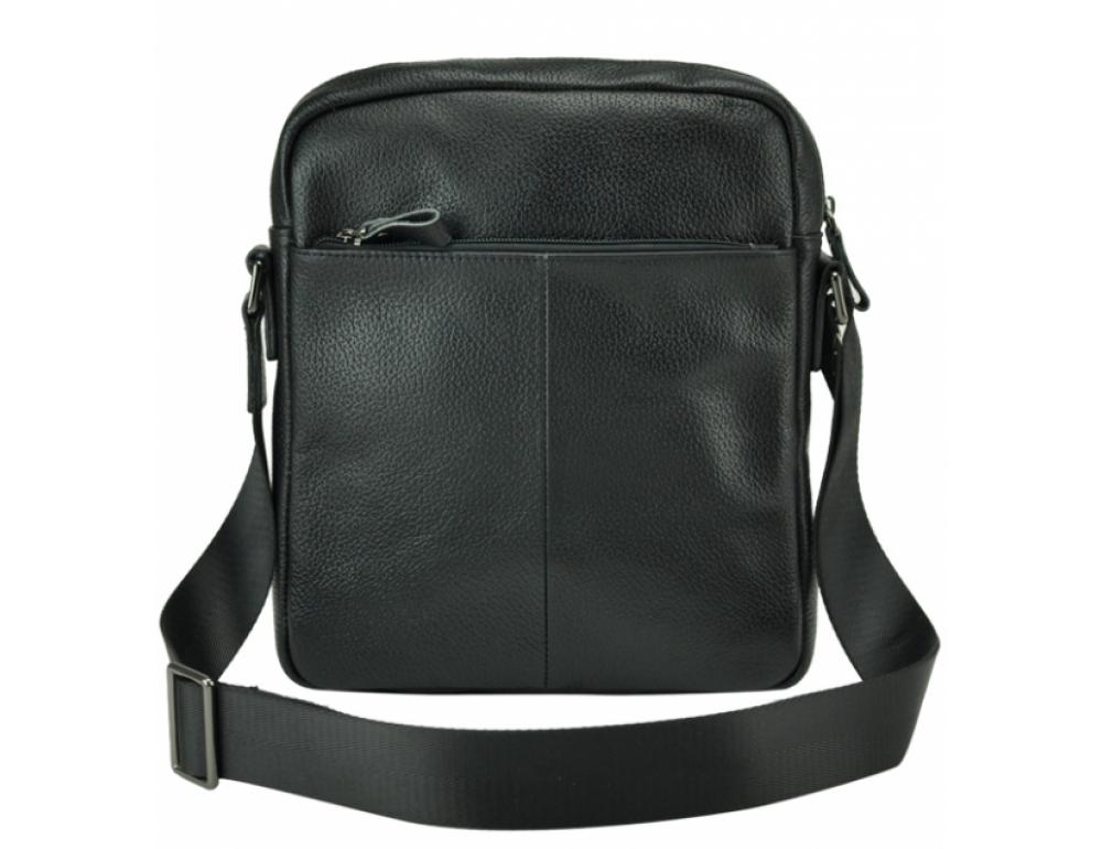 Черная кожаная мужская сумка-мессенджер Tiding Bag 9812-1A - Фото № 4