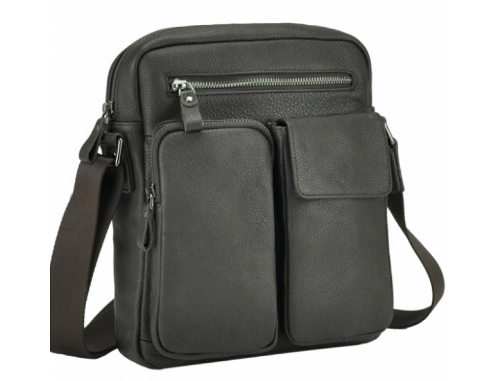 Тёмно-коричневая кожаная мужская сумка-мессенджер Tiding Bag 9812-1C - Фото № 1