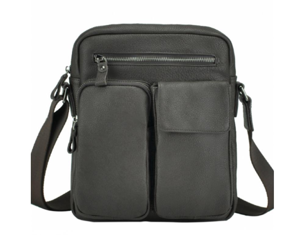 Тёмно-коричневая кожаная мужская сумка-мессенджер Tiding Bag 9812-1C - Фото № 3