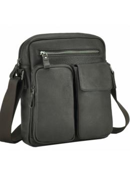 Тёмно-коричневая кожаная мужская сумка-мессенджер Tiding Bag 9812-1C