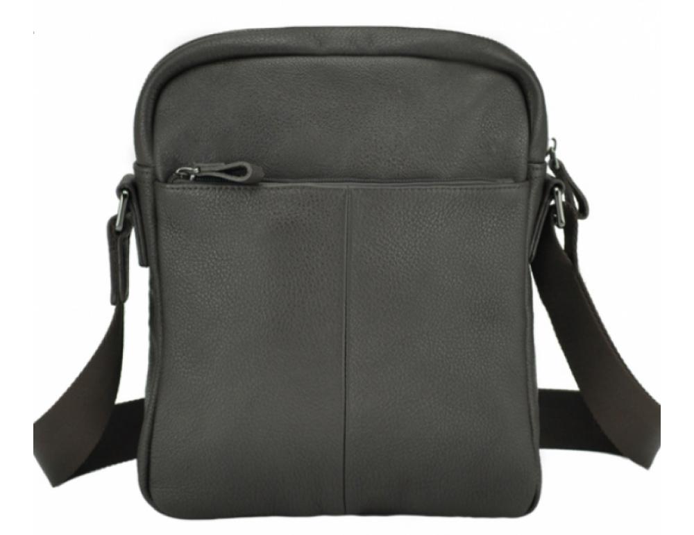 Тёмно-коричневая кожаная мужская сумка-мессенджер Tiding Bag 9812-1C - Фото № 4