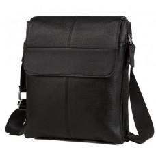 Шкіряна сумка на плече з двома відділеннями TIDING BAG A25-064A чорна