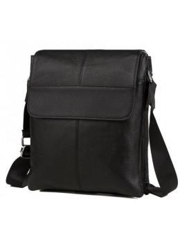 Кожаная сумка на плечо с двумя отделениями TIDING BAG A25-064A чёрная