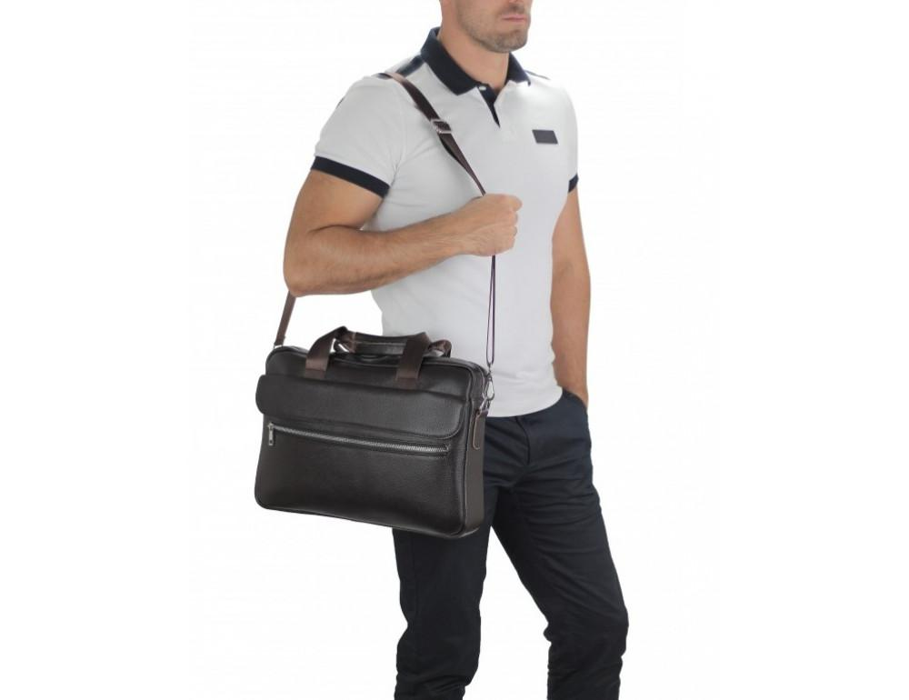 Тёмно-коричневая кожаная сумка под ноутбук Bexhill A25-1127C - Фото № 2