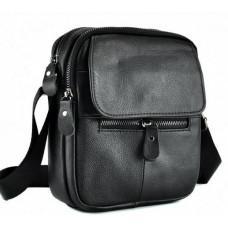 Чёрная мужская кожаная сумка через плечоTiding Bag A25-1169A